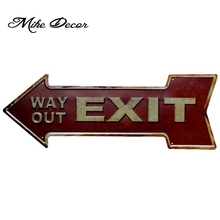 [ Mike Decor ] WAY OUT EXIT Vintage Classic Arrow painting Retro Gift Craft Irregular sign Bar decor YC-613 Mix order(China)