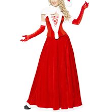 2016 Hot Sale Miss Santa Velours Longue Mrs. Claus Costume Adult Deluxe Chriatmas Long Dress W204013