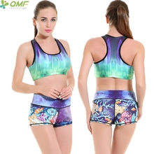 Aurore Polaire Sports Suit Yoga Sets Green Nature Sky Running Bra Padded Tops Underwater World Fitness Shorts Tracksuit 2pcs(China)