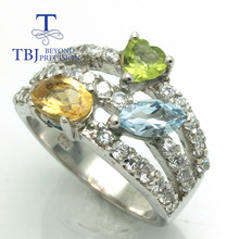TBJ,three natural colorstone ring,citrine peridot and topaz ring in 925 silver ,Gift rings for women