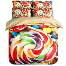 Rainbow-colored Candy Bedding Set Twin Queen King Size Duvet Covers Bed Sheets with Pillowcase Children Bedroom Textile Sets
