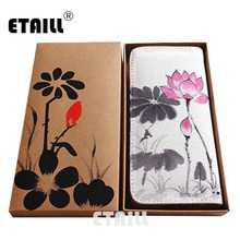 ETAILL Lotus Hand Painted Women Zipper Wallet Cotton Clutch Designer Brand Clutch Purse Lady Party Wallet Female Card Holder