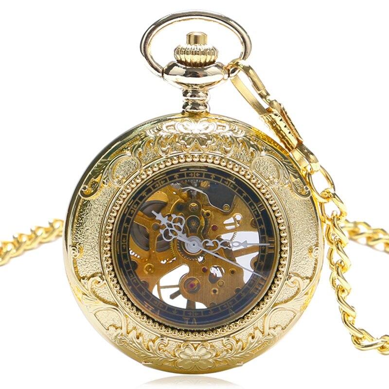 Beautiful Golden Color Pocket Watch Mechanical Watches Women Men Hours Gift P874C<br><br>Aliexpress