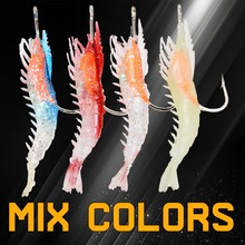 4pcs/lot Fishing Lures Artificial Shrimp Lures 63mm Prawn Soft Fishing Bait Pesca Luminous Lifelike with Hook Fishing Tackle(China)