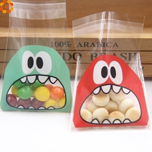 150PCS 7X7CM 3Colors Cute Cartoon Monster Cookie&Candy Bag Self-Adhesive Plastic Bags For Biscuits Snack Baking Package Supplies