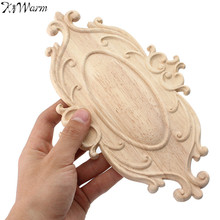 KiWarm Vintage Wood Carved Applique Onlay Woodcarving Decal Home Cabinet Wall Door Furniture Decoration Ornaments 242*148*6mm