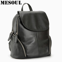 100% Genuine Leather Backpack Women Bags Fashion Knapsack Laptop Bag Double Zipper Travel Ladies Pocket Girl Schoolbag - MESOUL YiWu Store store