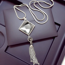 Fashion Women Pendant Necklace Square Big Drop Crystal Long Chain Sweater Tassel Necklaces Jewelry @M23(China)