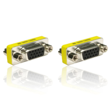 2pcs 15 Pin HD VGA/SVGA Female to Female Gender Bender Changer Adaptor Converter Swap(China)