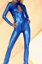 2016 New Sexy Womens Jumpsuit Blue PVC Leather Catsuit Latex Bondage Open Crotch Faux Leather Teddies & Bodysuits Free Shipping