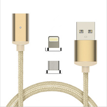 Nylon Magnetic 2 In 1 Micro USB For Lightning Adapter Sync Data Cable Fast Charging Cable For Iphone Android Ipad Ipod P0.01