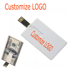 Over 10 Free Customize Logo White Plastic Credit Card / Card Custom Logo Business Design Usb Flash Drive Stick 4GB 8G 16G U disk(China)