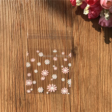 100pcs/lot white ans pink flower plastic biscuit packaging bags cookies packing cake tools Soap Bags 7cm*7cm(China)