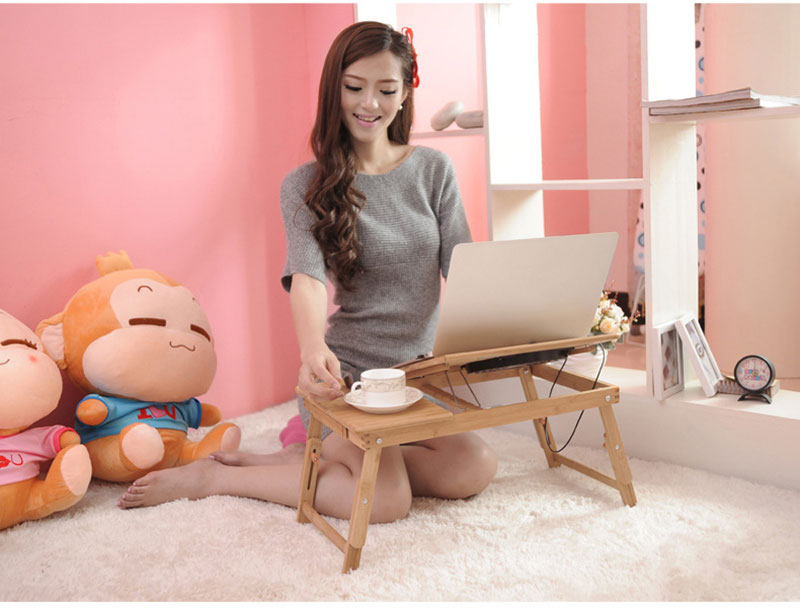 Bamboo Laptop Table Adjustable Computer Desk For Sofa Bed Folding Portable Laptop Table With Cooling Fan Notebook Stand Table 11