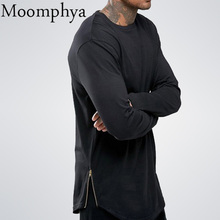 Moomphya fashion street wear t shirt men extend swag side zip t shirt Super Longline Long Sleeve T-Shirt With Curve Hem And Zip(China)
