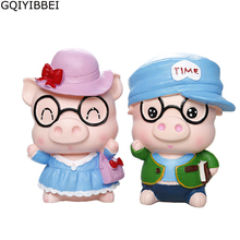 GQIYIBBEI Creative Cartoon Wear Glasses Pig Face Piggy Bank Money Coin Safe Box Kids Gift For Birthday Home Decoration(China)