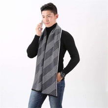 Winter Warm Head Crochet Scarf Cashmere Pashmina Knitted Stripe Men Wrap Scarf Business Casual Shawls Scarves(China)