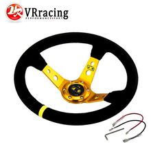 VR RACING - GOLD Steering wheel ID=14inch 350mm OMP Deep Corn Drifting Steering Wheel / Suede Leather Steering wheels VR-SW21G