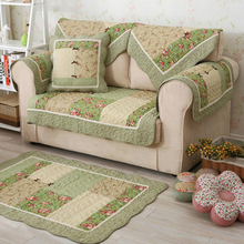 1 Pcs Winter Sofa Cover Cotton Green Floral Printed Hand Patchwork Quilting Sofa Mat Slip-resistant Home Sofa Towel Home Textile