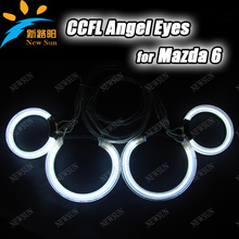8000k ultra bright CCFL Angel Eyes Kit yellow White Blue Red purple Halo Ring Lamp Bulb For Mazda6 4 rings and 2 inverters