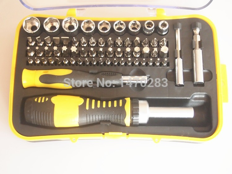 65 in 1 Screwdriver Set CRV material socket set with magnetic screwdriver ratchet screwdriver combination Repair Tools<br>
