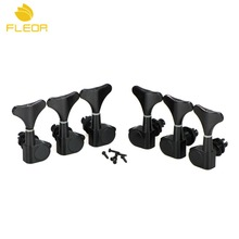 FLEOR 6pcs/Set Black Enclosed 5/6 String Bass Tuning Pegs Keys 3L3R Machine Heads Tuners, Silver also(China)