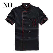 New Chef's Short-sleeved Breathable Outfit Summer Wear Work Clothes Men and Women Overalls Hotel Kitchen Chef Black Uniform