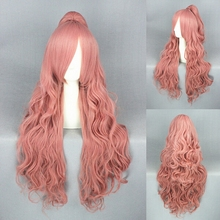 High Quality 70cm VOCALOID-Megurine Luka Pink Anime Cosplay Wig With One Ponytail Long Curly Synthetic Hair Free Shipping
