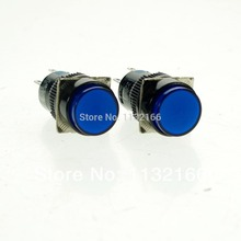 16mm Hole Color Blue DPDT 2NO 2NC Contact 6 Pin Momentary Push Button Switch 5A 250VAC