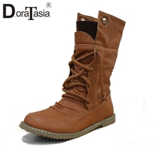 DoraTasia Women 가 오토바이 Mid-calf Boots 겨울 퍼 Shoes Woman Lace Up Flat 힐 Shoes 캐주얼 눈 Boots big size 34-43(China)