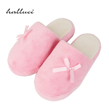 Pink Women Home Slippers House Female Slippers For Indoor Bedroom House Soft Bottom Room Shoes Adult Plush Flats Christmas Gift(China)