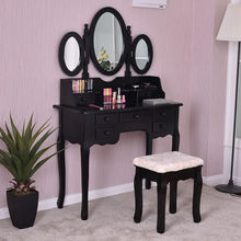 Giantex Make up Vanity Table Set Tri-folding Mirror and Bench with 7 Drawer Dressing Table Bedroom Furniture Dressers HW56422BK(China)