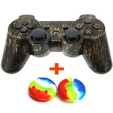 Bluetooth Gamepad Wireless Game Controller for Sony PS3 Controller for Playstation 3 + 2 Silicone Joystick Grip Cap Dark Bronze