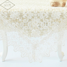 Free Shipping Weddings 60 90 120cm Square Coffee White Color Chemical Lace Fabric Embroidery Tablecloth(China)