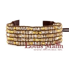 new lotusmann  vermeil nuggets and crystal bracelet with leather button Wrap Bracelet on Leather