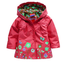 Hot Sale Kids Children Girls  Flowers Hooded Waterproof Windproof Raincoat coat Free Shipping