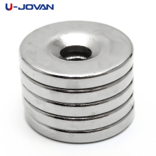 U-JOVAN Hot Sale 10pcs 20 x 3 mm Hole 5mm N35 Super Strong Permanet Round Neodymium Countersunk Ring Magnet Rare Earth Magnets