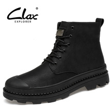 CLAX Mens Leather Boot Fashion Spring Autumn Casual Shoe High Top Men's Winter Boots Plush Fur Warm Work Shoes Safety Footwear
