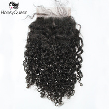 3B 3C Kinky Curly Lace Closure With Baby Hair 4x4 Free Part Brazilian Remy Hair Honey Queen Hair Products(China)