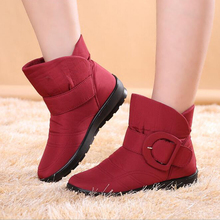 Women Snow Boots 2016 Winter New Arrival Women Flat Low Tube Boots with Plush Warm Cotton Shoes Waterproof Snow Boots Hot Sale
