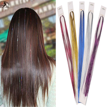 1PC 3D Rainbow Clip In Hair Extensions Shinny 16Inch BellaVia Tinsel Hair Extension Bling String No Trace 1 Clip Hairpiece