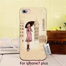 Cartoon London Big Ben in front of a girl holding an umbrella Black Cell Phone Protective Cover For iPhone  se 5s 6s 7 plus case