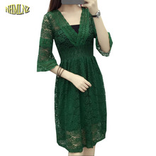 2017 New Fashion Lace Medium long Women Dress V-neck Pure color Horn Sleeve Set head Summer Dress Loose A-line Dress OK144(China)
