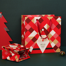 3pcs/lot Christmas Gift Bag Exquisite Geometric Pattern Red Handbag Original Gift Bag Paper Bag New Product(China)