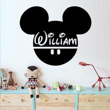 Mickey Mouse Head Wall Stickers Custom Baby Name Vinyl Decal Decor Nursery Kids Customized Colors Available Wall Decal SA299