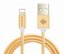 100% Genuine Quality KALUOS 2M Metal Braided Charger Wire USB Data Sync Charge Cable For iPhone 5/5S 6/6S iPad 4/5 Charging Line