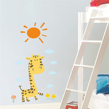 % Giraffe Giraffe Sun Wall Stickers Decals For kids Rooms Baby Nursery bedroom Home Decor Children Animal Poster Mural wallpaper(China)