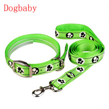 Dogbaby 2pcs/set Pet Dog Fluorescent Reflective Collar Drawstring Traction Rope Cute dog footprint print Dog Leash Harness