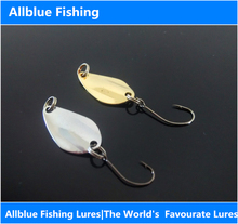 Allblue Metal Spoon Fishing Lure Silver&Golden Color Spoon Bait 10pcs/lot 2g Artificial Lure for Fishing Tackle Isca(China)