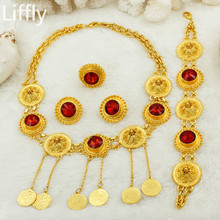 Wholesale Nigerian Gold Bridal Jewelry Sets Italian Women's Charm Red Crystal Pendant Necklace Jewelry Fashion Wedding Jewelry(China)
